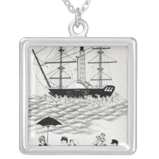 English Steamship at Canton, 1840 Personalized Necklace