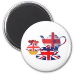 English Tea-time, Union Jack Art Gifts 2 Inch Round Magnet