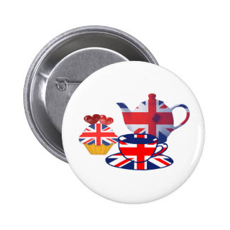 English Tea-time, Union Jack Art Gifts Pinback Button