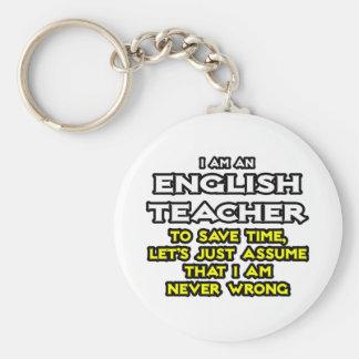 English Teacher...Assume I Am Never Wrong Basic Round Button Keychain