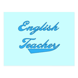 English Teacher Blue Text T-shirts and Gifts Post Cards