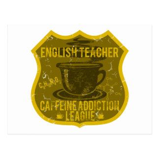 English Teacher Caffeine Addiction League Postcard