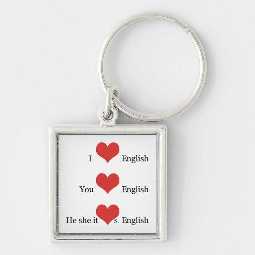 English Teacher Gift TESOL ESL I Love English Keychains
