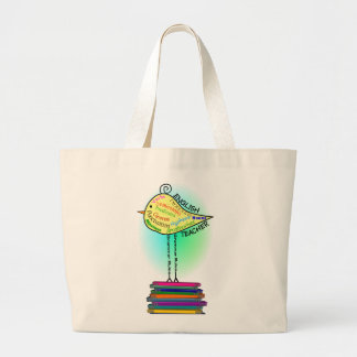 "English Teacher ""Grammar Bird"" Gifts Large Tote Bag"