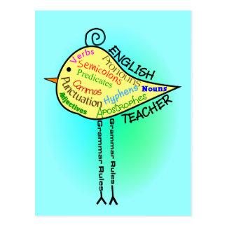"""English Teacher """"Grammar Bird"""" Gifts Postcard"""
