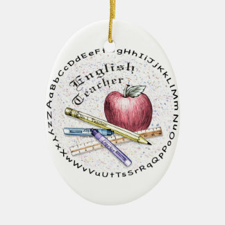 English Teacher Double-Sided Oval Ceramic Christmas Ornament