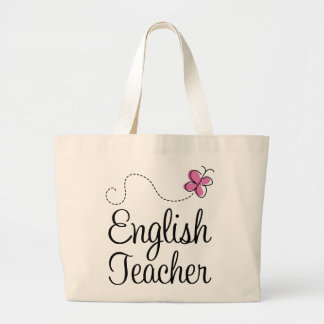 English Teacher Pink Butterfly Large Tote Bag