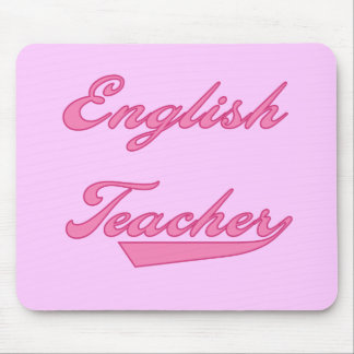 English Teacher Pink Text Tshirts and Gifts Mouse Pad