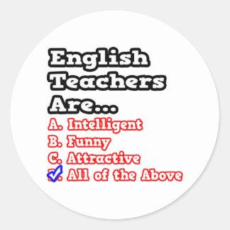 English Teacher Quiz...Joke Round Stickers