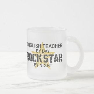 English Teacher Rock Star Frosted Glass Coffee Mug