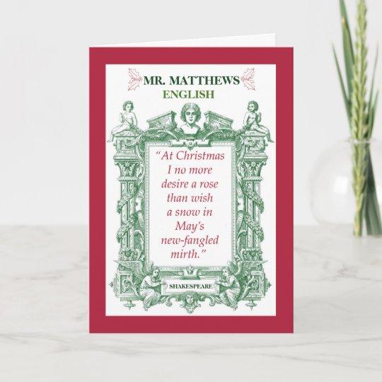 Christmas Cards For Teachers.English Teacher Shakespeare Historical Christmas Holiday Card