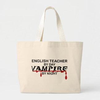 English Teacher Vampire by Night Large Tote Bag
