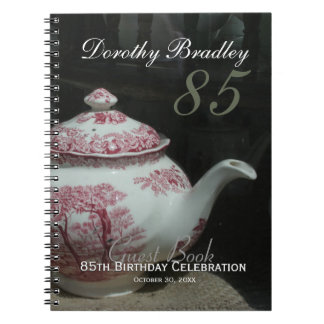 English Teapot 85th Birthday Party Guest Book Notebook