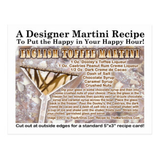English Toffee Martini Recipe Postcard