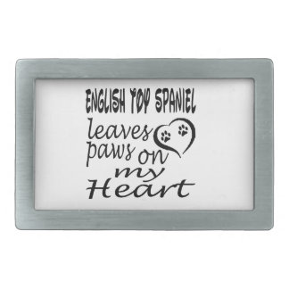English Toy Spaniel Dog Leaves Paw On My Heart Belt Buckles