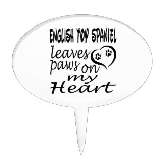 English Toy Spaniel Dog Leaves Paw On My Heart Cake Picks