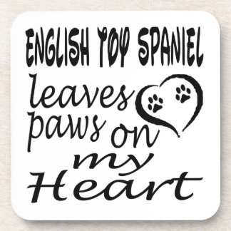 English Toy Spaniel Dog Leaves Paw On My Heart Coaster