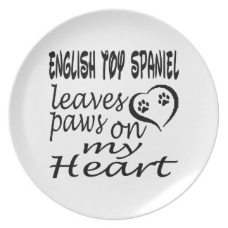English Toy Spaniel Dog Leaves Paw On My Heart Dinner Plates