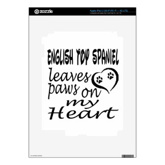English Toy Spaniel Dog Leaves Paw On My Heart Skins For iPad 3