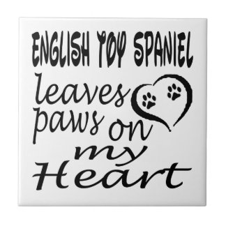 English Toy Spaniel Dog Leaves Paw On My Heart Tile
