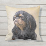 English Toy Spaniel Painting - Cute Original Dog A Outdoor Pillow
