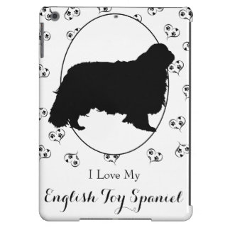 English Toy Spaniel Silhouette Hearts Paw Prints iPad Air Covers
