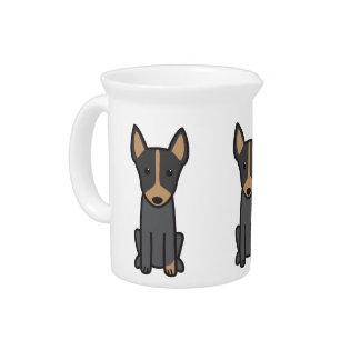 English Toy Terrier Dog Cartoon Beverage Pitchers