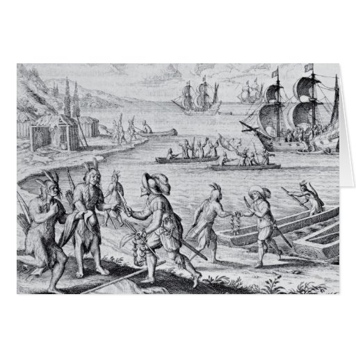 English Trading with Indians of the West Greeting Card