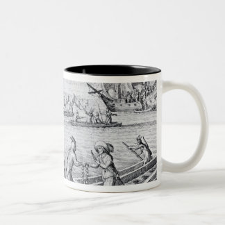 English Trading with Indians of the West Two-Tone Coffee Mug