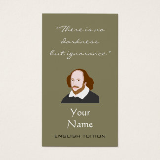English Tutor Shakespeare Business Cards