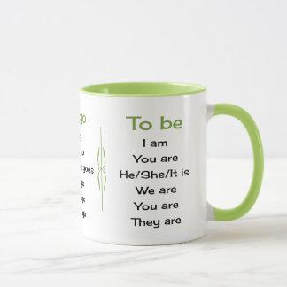 English verbs teacher or student mug