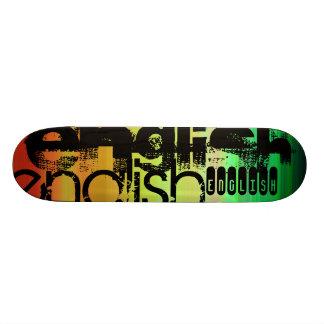 English; Vibrant Green, Orange, & Yellow Skateboard Deck