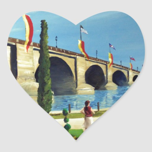 English Village by Paul Bryan Wadsworth Heart Stickers