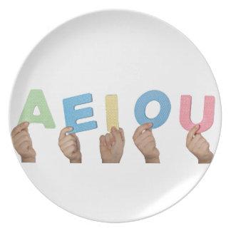 English vowels melamine plate