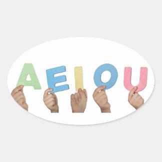 English vowels oval sticker