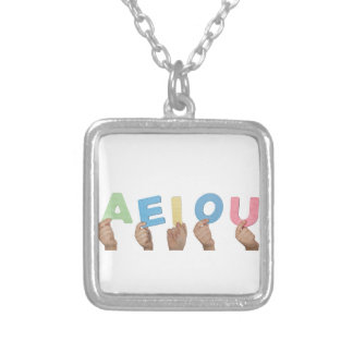 English vowels silver plated necklace