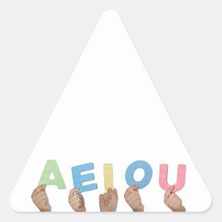 English vowels triangle sticker