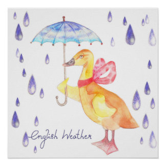 """English Weather"" Nursery Art Poster 20"" x 20"""