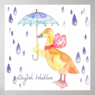 """English Weather"" Nursery Art Poster 24"" x 24"""