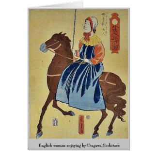 English woman enjoying by Utagawa,Yoshitora Stationery Note Card