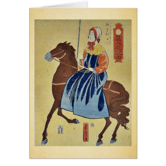 English woman enjoying by Utagawa,Yoshitora Greeting Card