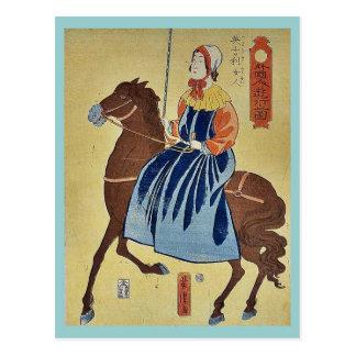 English woman enjoying by Utagawa,Yoshitora Postcard