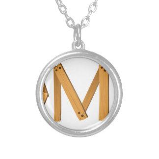 english word under construction round pendant necklace