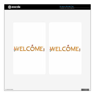 english word welcome kindle fire skin
