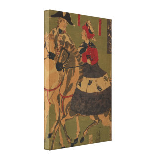Englishman and Frenchwoman on Horseback Vintage Canvas Print