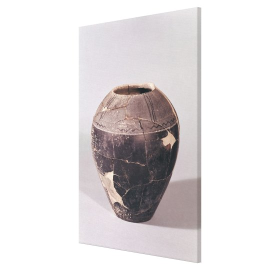 Engobe vase decorated with undulating lines canvas print