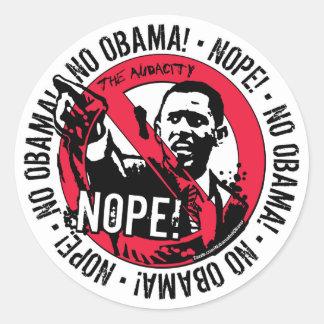 Engranaje anti '08 de Nope Obama Pegatina Redonda