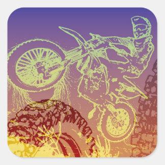 Engranaje Biking de la suciedad para las fans de Pegatina Cuadrada