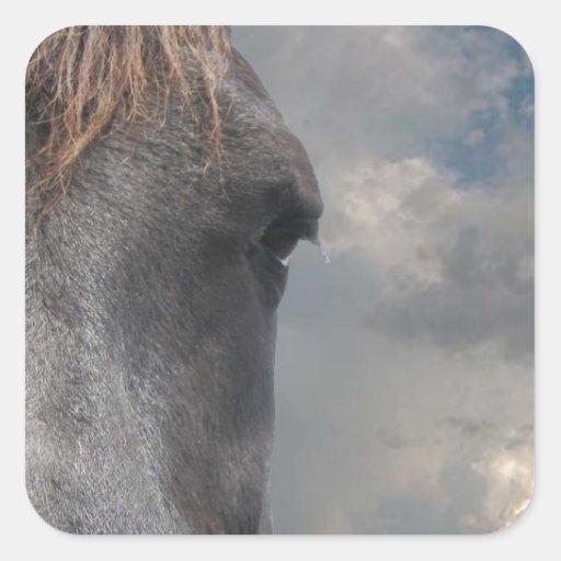 Engranaje de Horsehead Pegatina Cuadrada