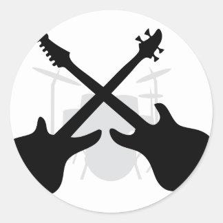 engranaje de la banda - bajo eguitar de los pegatina redonda